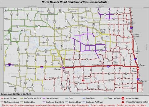 Interstate Closures   AM 1100 The Flag WZFG on north dakota rd map, weather forecast fargo north dakota, harvey north dakota map, nd road map, fargo north dakota map, north dakota official highway map, nddot road map,