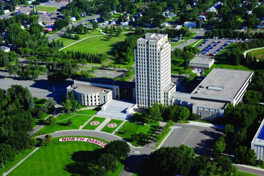 The North Dakota state capitol building